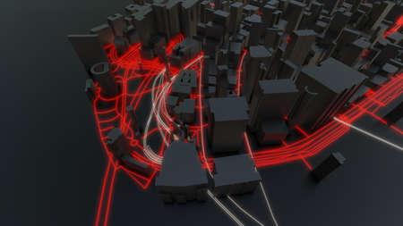 Futuristic night city. 3D illustration Standard-Bild - 120838838