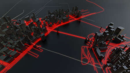 Futuristic night city. 3D illustration Standard-Bild - 120838861