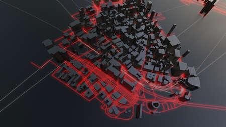 Futuristic night city. 3D illustration Standard-Bild - 120838866