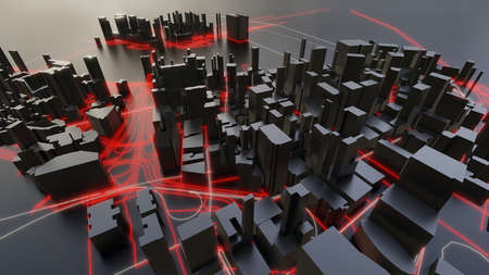 Futuristic night city. 3D illustration Standard-Bild - 120838869