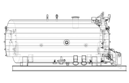 Industrial boiler outline. Vector rendering of 3d. Wire-frame style. The layers of visible and invisible lines are separated Standard-Bild - 120884559