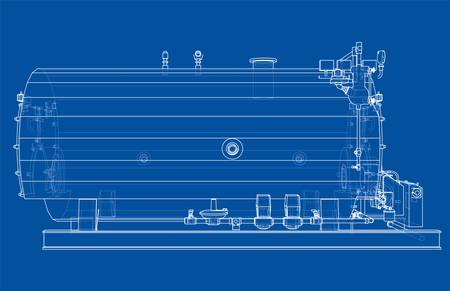 Industrial boiler outline. Vector rendering of 3d. Wire-frame style. The layers of visible and invisible lines are separated