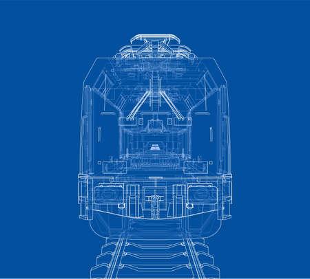 Concepto de tren moderno. Representación vectorial de 3d. Estilo de marco de alambre Ilustración de vector