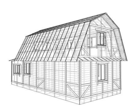 Croquis de la maison. Rendu vectoriel de 3d. Style fil de fer Vecteurs