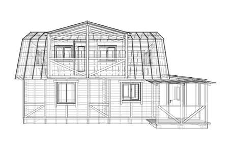 House sketch. Vector rendering of 3d. Wire-frame style Vecteurs