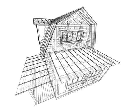 Croquis de la maison. Rendu vectoriel de 3d. Style fil de fer