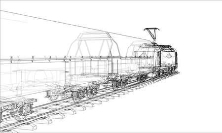 Concepto de tren moderno. Representación vectorial de 3d. Estilo de marco de alambre