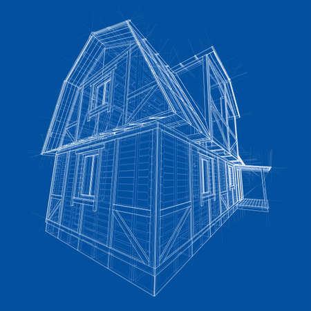 House sketch. Vector rendering of 3d