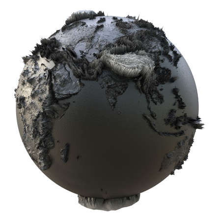 Abstract Black Earth Globe, Continets Extruded or Displacement Banco de Imagens