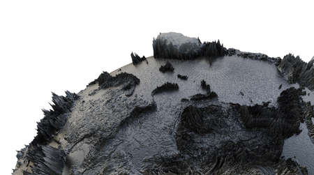 Abstract Black Earth Globe, Continets Extruded or Displacement Reklamní fotografie