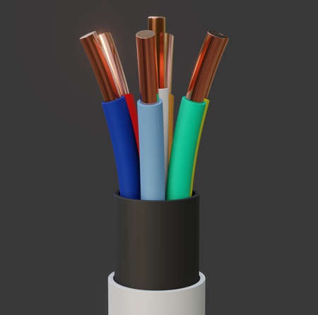 Seven-wire cable, different colors. 3D illustration Stock Photo