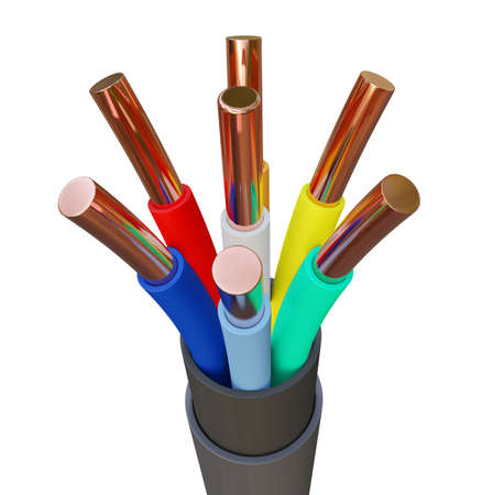 Seven-wire cable, different colors. 3D illustration