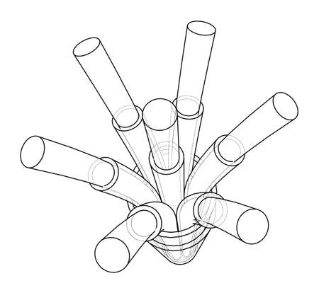 Seven-wire cable. Wire frame style. Vector rendering of 3d. Concept of the energy industry Standard-Bild - 122720980