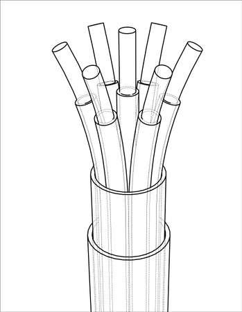 Siebenadriges Kabel. Drahtrahmen-Stil. Vektor-Rendering von 3d. Konzept der Energiewirtschaft Vektorgrafik