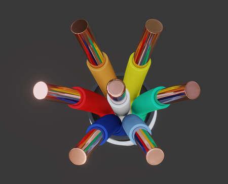Seven-wire cable, different colors. 3D illustration