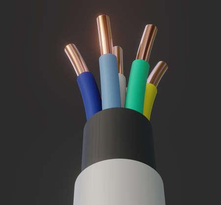 Seven-wire cable, different colors. 3D illustration Standard-Bild - 122208301
