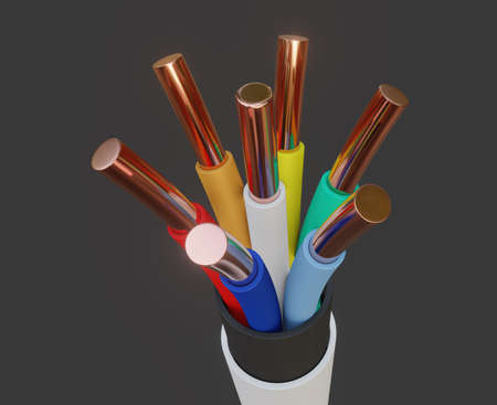 Seven-wire cable, different colors. 3D illustration Standard-Bild - 122208304