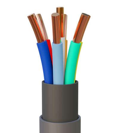 Seven-wire cable, different colors. 3D illustration Standard-Bild - 122208305