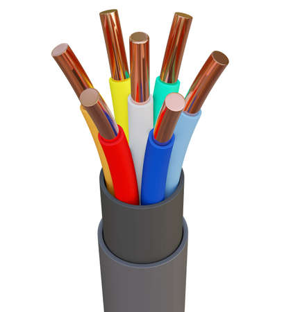 Seven-wire cable, different colors. 3D illustration Standard-Bild - 122208309