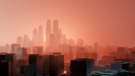 City in red fog. Air pollution or military action
