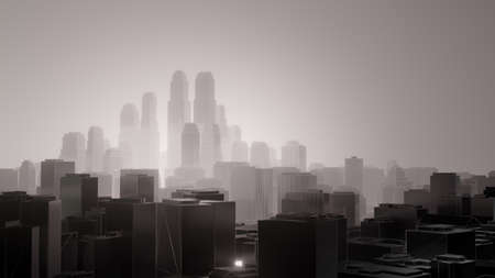 City in fog. Air pollution