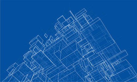 Vector abstract boxes background. Vector rendering of 3d. Wire-frame style  イラスト・ベクター素材