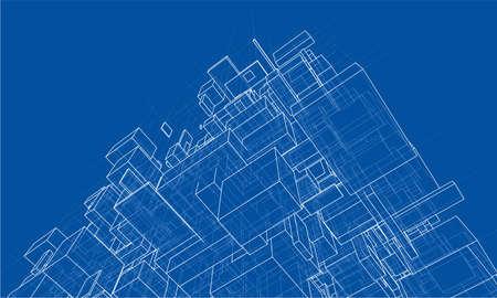 Fond de boîtes abstraites de vecteur. Rendu vectoriel de 3d. Style fil de fer