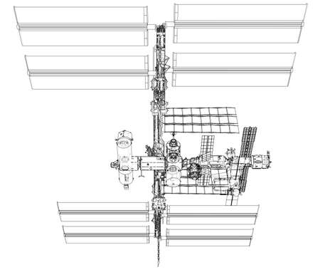International Space Station Outline. Vector rendering of 3d