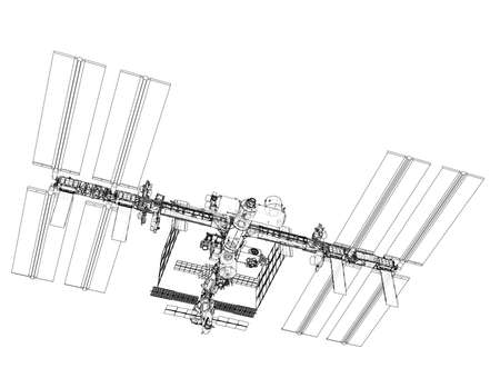 International Space Station Outline. Vector