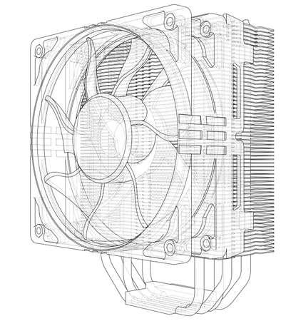 CPU-Coller-Konzept. Vektor-Rendering von 3d. Informationskonzept Vektorgrafik