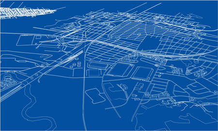 Outline city concept vector. Wire-frame style. The layers of visible and invisible lines. 3D illustration 일러스트