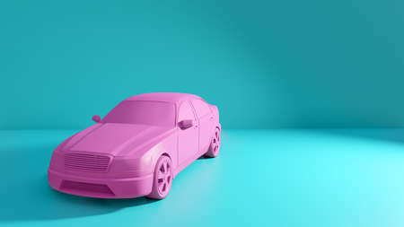 Styled 3D illustration of the pink car