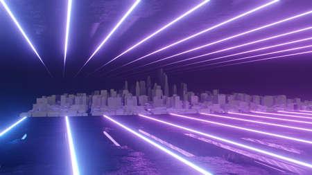 Abstract night city 3D illustration