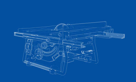 Outline table saw for woodwork vector. Wire-frame style. The layers of visible and invisible lines. 3D illustration Illusztráció