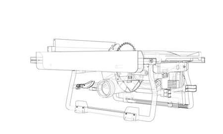 Sierra de mesa de contorno para vector de carpintería. Estilo de marco de alambre. Las capas de líneas visibles e invisibles. Ilustración 3D