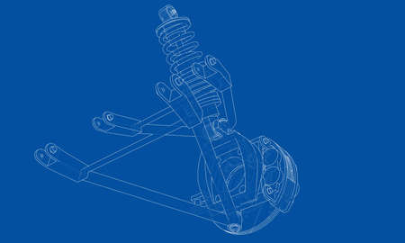 Car suspension with shock absorber. Vector rendering of 3d. Wire-frame style. The layers of visible and invisible lines are separated