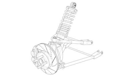 Car suspension with shock absorber. Vector