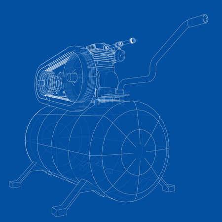 Outline Air compressor. Vector Illustration