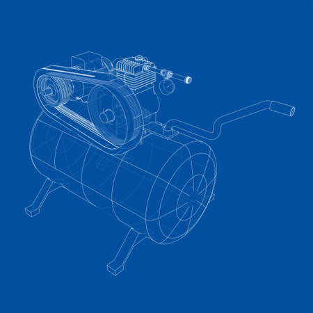 Outline Air compressor. Vector