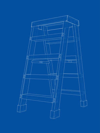 Outline household steps. Vector rendering of 3d. Wire-frame style. The layers of visible and invisible lines are separated