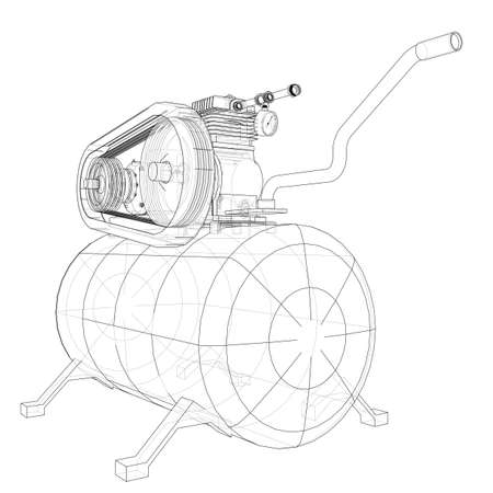 Outline Air compressor. Vector Archivio Fotografico - 127873649