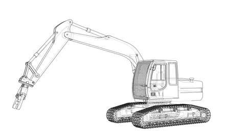 Sloopkraan oder Abbruchkrankonzept skizzieren Vektor-Rendering von 3d. Drahtrahmen-Stil. Die Schichten der sichtbaren und unsichtbaren Linien sind getrennt Vektorgrafik
