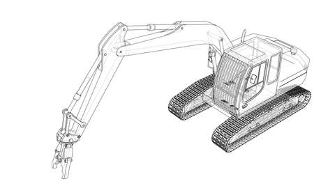 Outline sloopkraan or demolition crane concept. Vector rendering of 3d. Wire-frame style. The layers of visible and invisible lines are separated