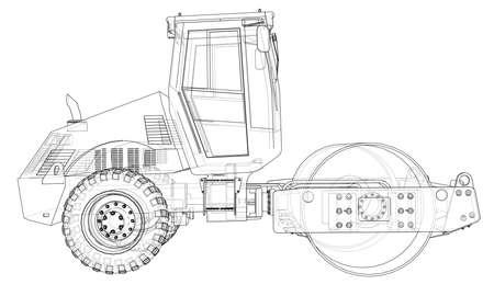 Máquina de construcción. El compactador de asfalto resumió la representación del vector de 3d. Las capas de líneas visibles e invisibles están separadas. Ilustración de vector