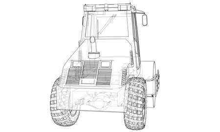 Construction machine. Asphalt compactor outlined vector rendering of 3d. The layers of visible and invisible lines are separated Vectores