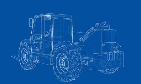 Forklift concept. Vector rendering of 3d