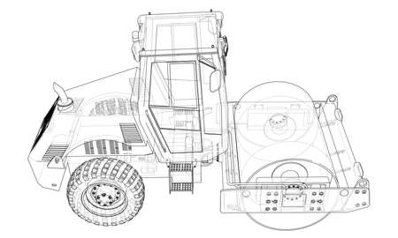 Construction machine. Asphalt compactor vector