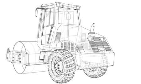 Construction machine. Asphalt compactor vector