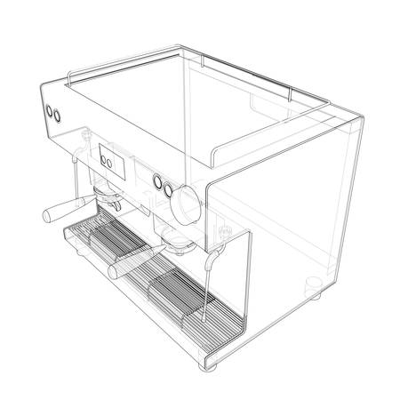 Outline coffee machine. Vector rendering of 3d. Wire-frame style. The layers of visible and invisible lines are separated