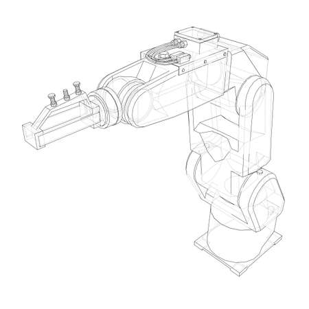 Industrial robot manipulator. Vector image rendered from 3d model in sketch style or drawing. White background Ilustração